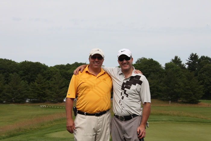 Taking a break from the links at Copetown Woods Golf Club are  Joel Ippolito, left, Director of the Ippolito Foundation and  Brian Stemmle, former Canadian ski team competitor and  a member of the Canadian Ski Hall of Fame.