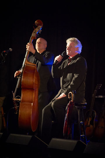 John McDermott backed up by band member bassist George Koller sings to the sold-out crowd of 400 during the Songs in the Key of Giving hospices fundraiser.