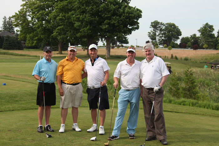 Having fun at the 2012 Ippolito Foundation Golf Tournament at Copetown Woods Golf Club are, from left, Rogers Sportnet's Scott Morrison, Ippolito Foundation director, Joel Ippolito, the event's platinum sponsor Phil Caplan of PC Packaging and Design, Graeme Jewett of Marsan Foods and Chair of McDermott House Canada, and singer John McDermott, Founder and President of McDermott House Canada.